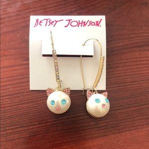 Betsey Johnson Just Kitten Dangle Earrings